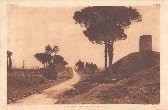 Rome, vue de la Via Appia Antica - Carte postale Ulderico Bossi (Rome) & Cavadini (Vérone), années 1920 / Coll. privée.